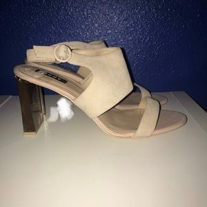 DKNY tan suede w/clear acrylic stacked heels